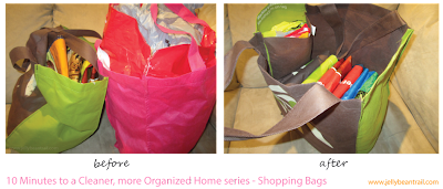 Shopping bag organization - before and after - The Jelly Bean Trail