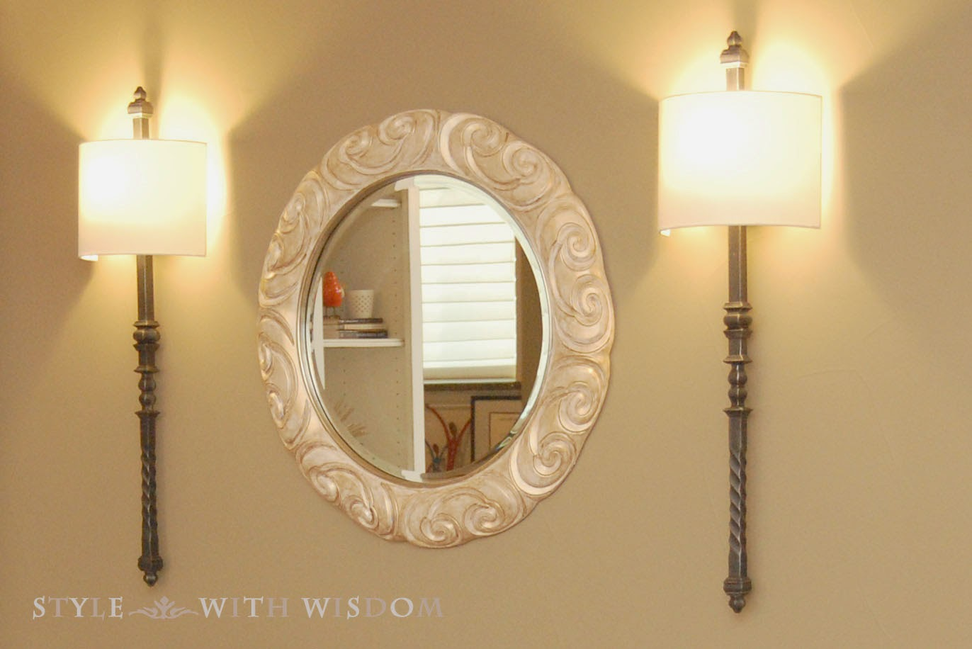 Tall lighting sconces mirror makeover