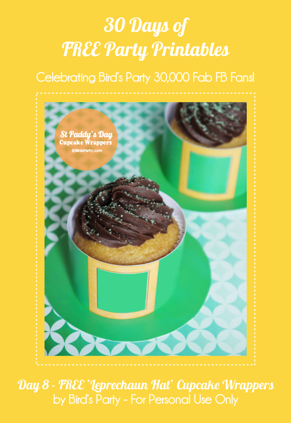 FREE Party Printables:St Patrick's Day 'Leprechaun Hat' Cupcake Wrappers