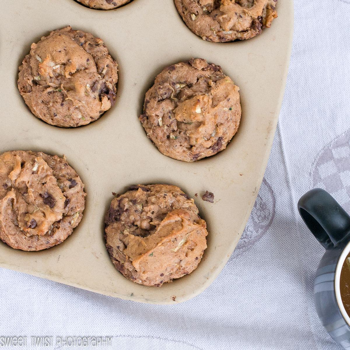 Gluten Free Chocolate Chip Walnut Zucchini Muffins