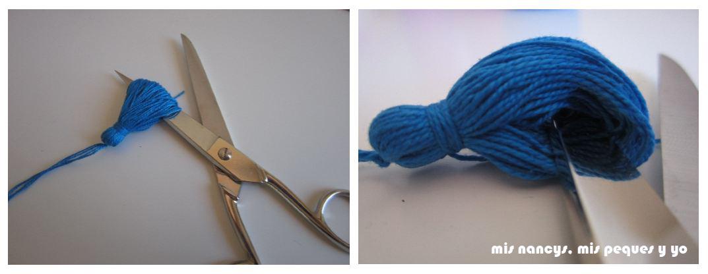 mis nancys, mis peques y yo, tutorial DIY borlas colores cortar hilos