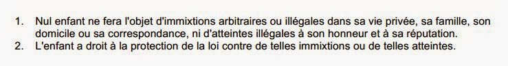 Article 16 de la Convention des Droits de l'Enfant