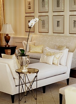 cream and gold living room gallery wall daybed transitional style open floor plan