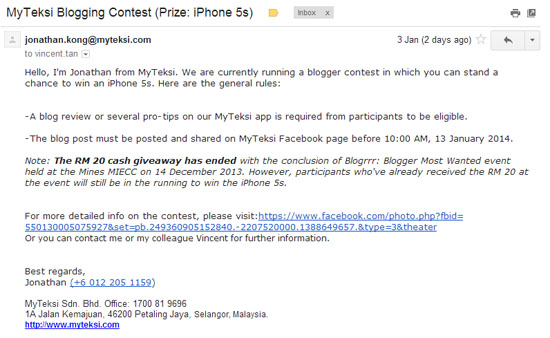 Blogging Contest MyTeksi