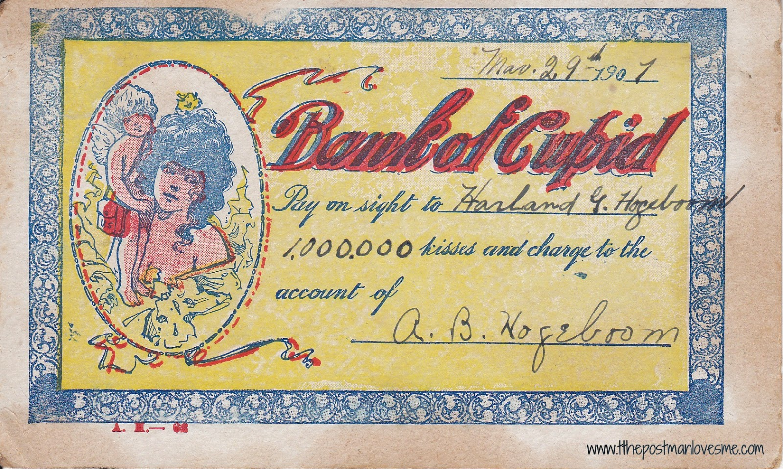 Bank of Cupid Vintage Postcard - pay 1,000,000 kisses