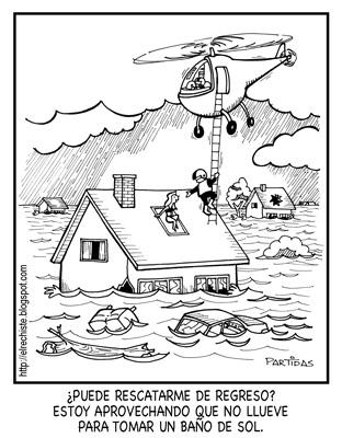 caricatura de helicoptero de rescate en inundacion y una victima en el techo de una casa que no quiere ser rescatada todavia porque se esta asoleando