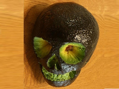 avocado skull head carving images