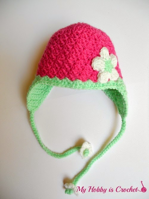 Crochet Tassel Hat Pattern For Baby : My Hobby Is Crochet: Blooming Strawberry Baby Earflap Hat ...