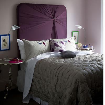 habitaciones en púrpura y plata