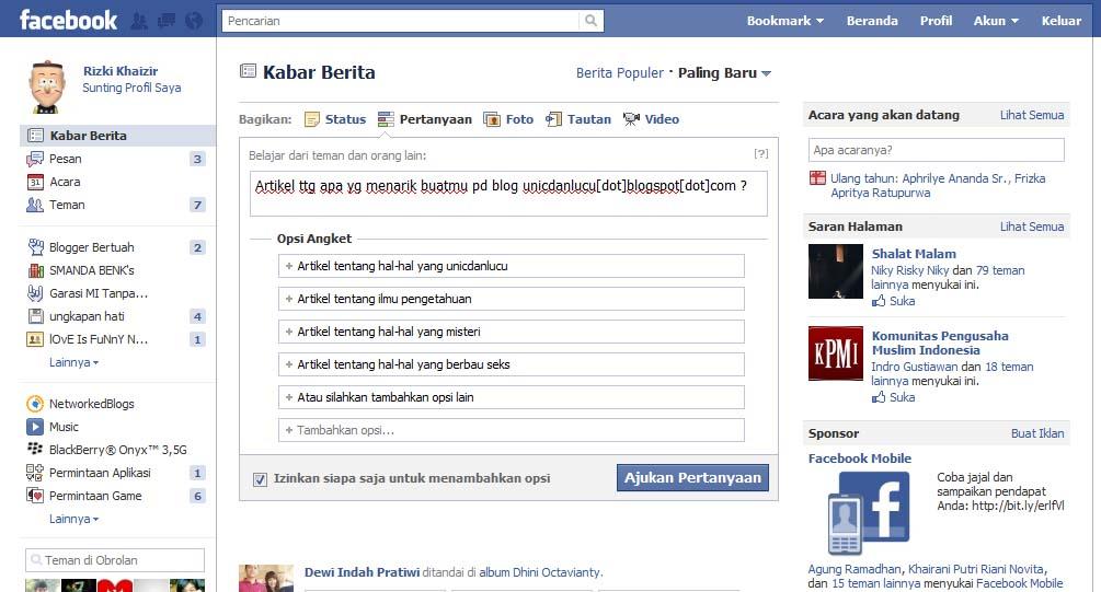 Pertanyaan Facebook