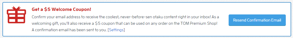Sign up to get $5 from tokyo otaku mode