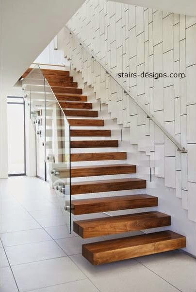Glass stairs and wood stairs