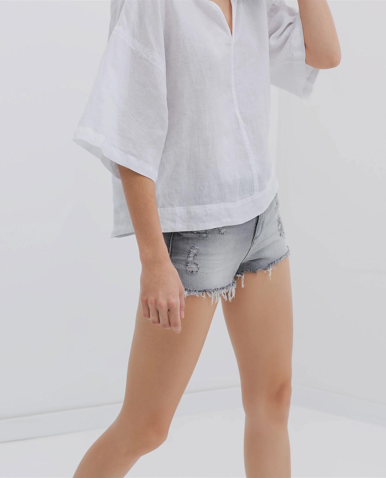 zara grey shorts