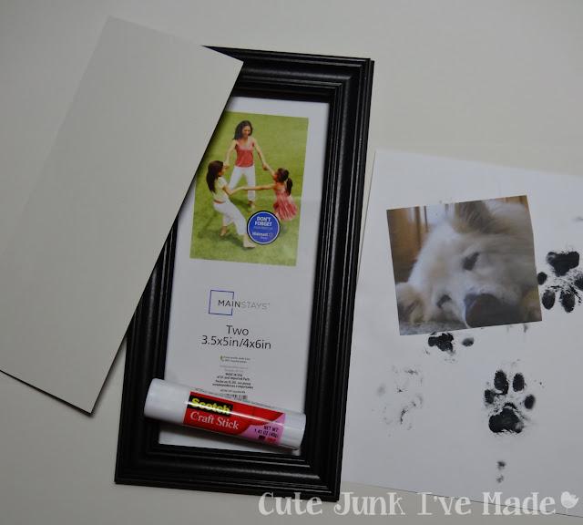 Puppy Print Memorial Frame - Supplies - frame, picture, pawprints, gluestick