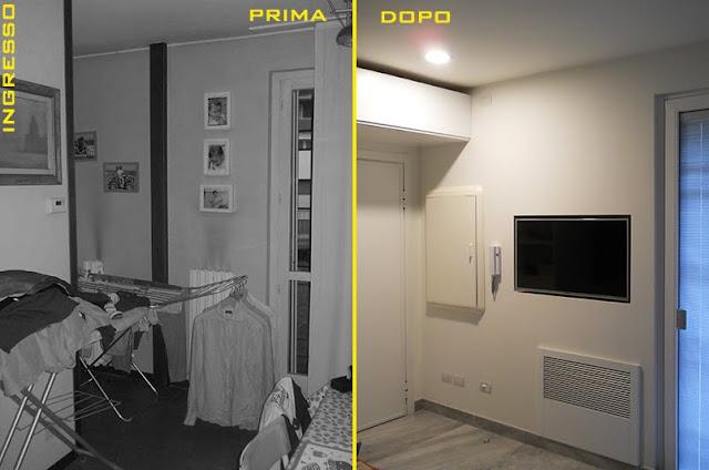 Immagine dell'ingresso senza il muro della cucina
