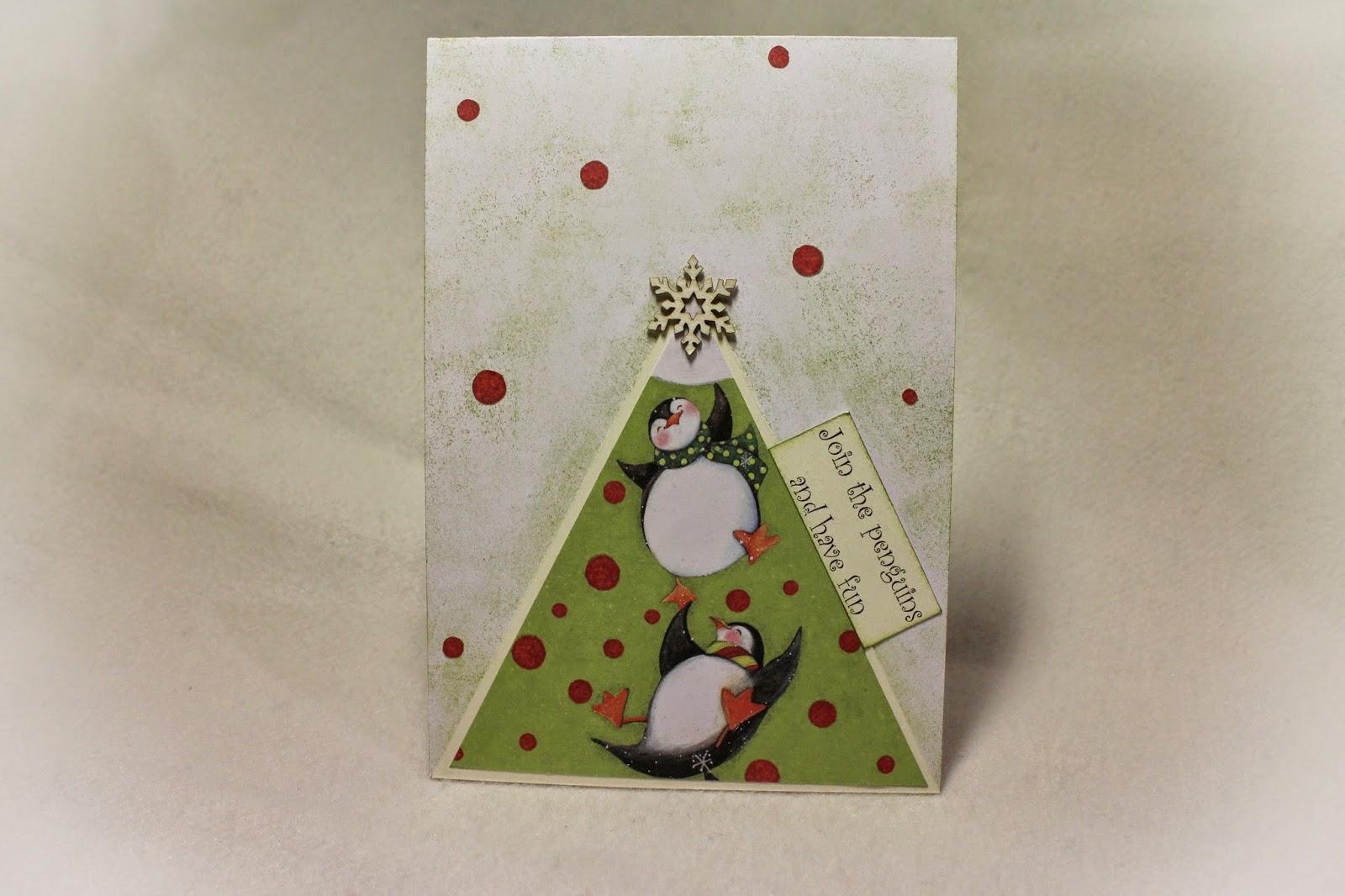 New Year penguins scrapbooking card funny Christmas snow снежинка скрапбукинг пингвин Новый год открытка hamster-sensey
