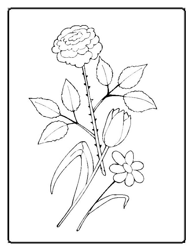 Simple Flower Coloring Pages for Kids title=