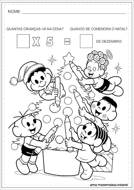 Multiplicação Natal Turma da Mônica Atividade