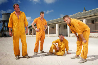 Sky1's Mad Dogs series 3, Woody (Max Beesley), Quinn (Philip Glenister), Baxter (John Simm) and Rick (Marc Warren)