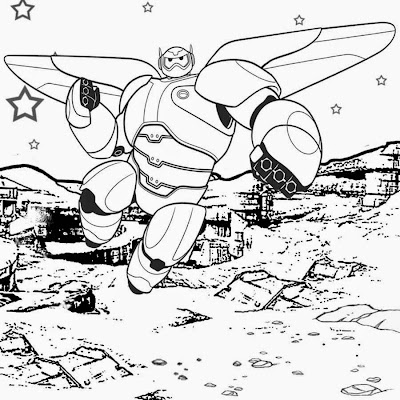 Cool Free Cartoon Childrens Disney Printables Big Hero 6 Coloring Pages Brave Rocket Man On The