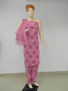 Lucknowi Chikan  pink Red Cotton Dress Material