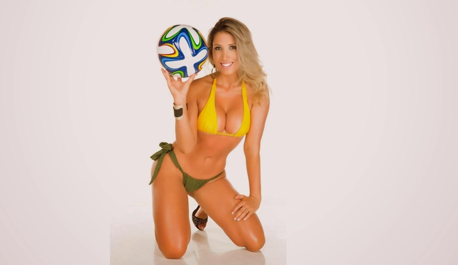 Rosângela Fraga vestida nas cores da seleção brasileira de futebol