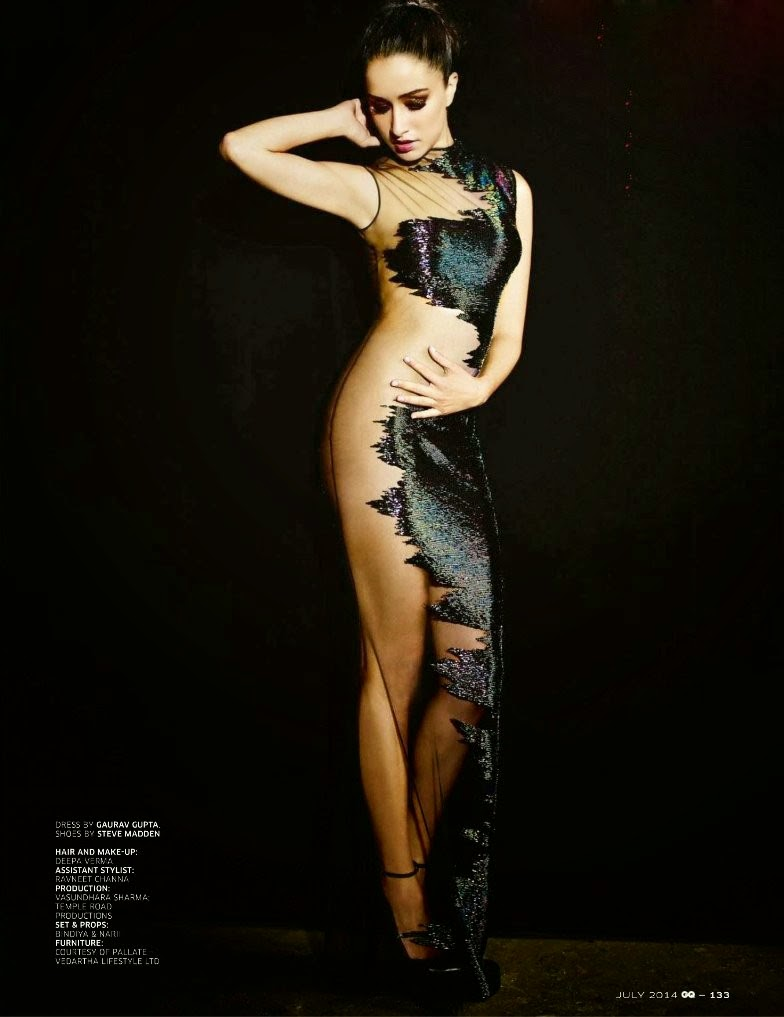 Shraddha Kapoor looking hot in see-through net gown dress in GQ magazine