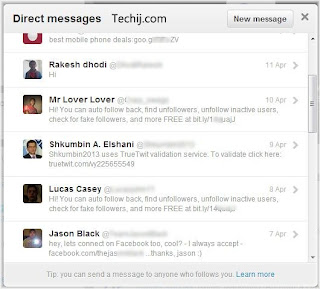 twitter direct messages example