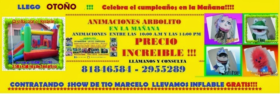 PROMOCIÓN   MARZO Y ABRIL!!! CELBRA TU CUMPLE CON ANIMACION EN LA MAÑANA Y GRATIS UN JUEGO INFLABLE