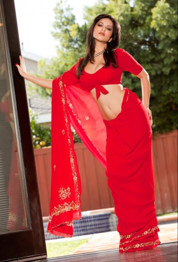 Sunny leone In Red Saree spicy photos