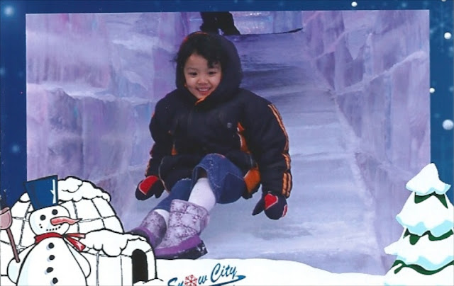 Kecil sliding on ice slide