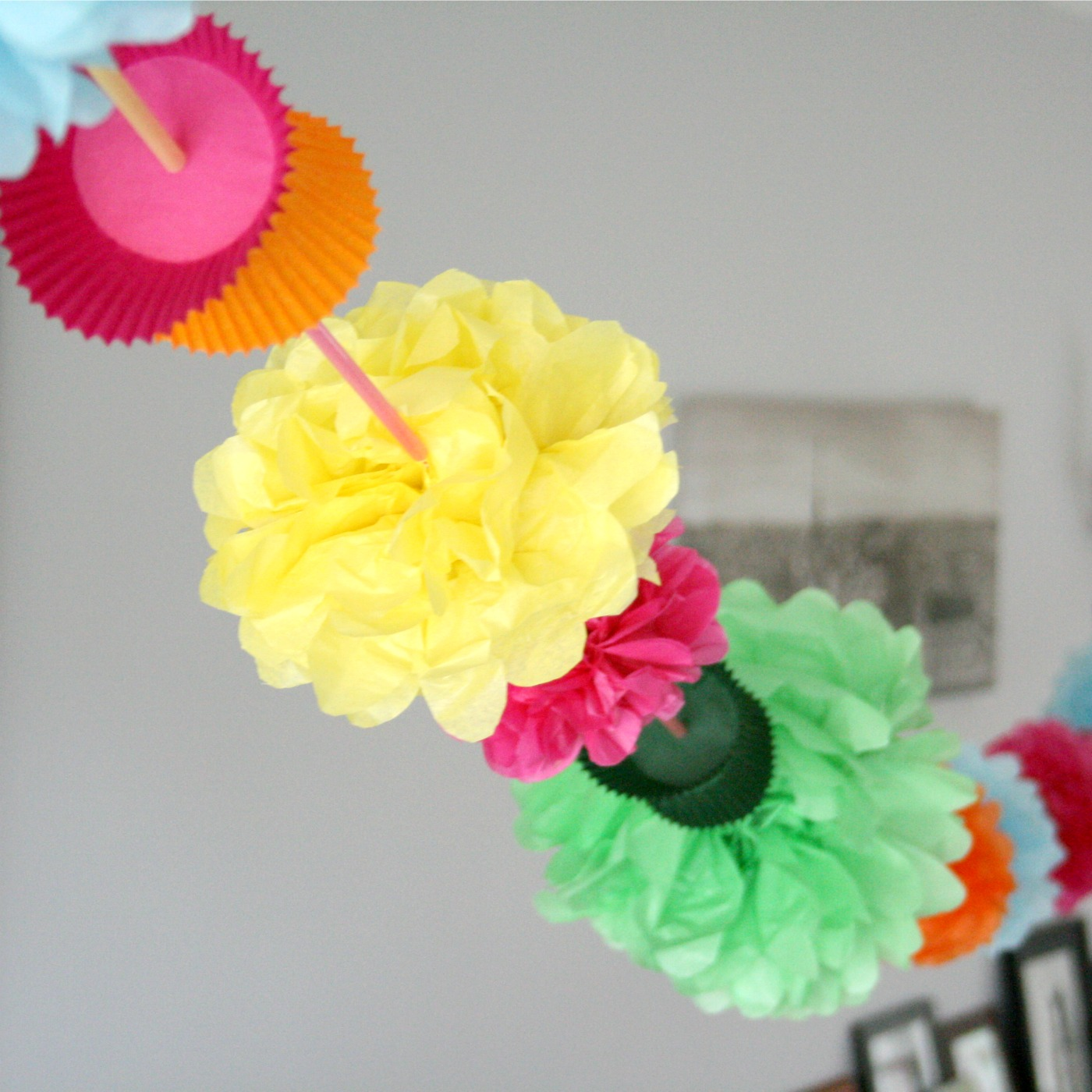 The Craft Revival Make A Paper Garland Using Cupcake Wrappers Straws And Tissue