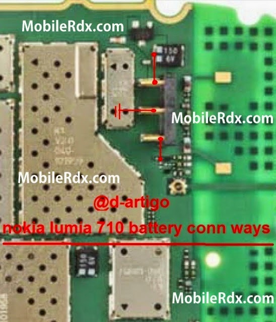 Nokia Lumia 710 Battery Connecter BSI Line Ways