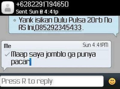 SMS Penipuan Sayang isi pulsa