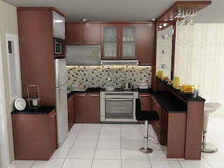 kitchen set, kitchen set murah, finishing hpl, kitchen set model u, meja bar