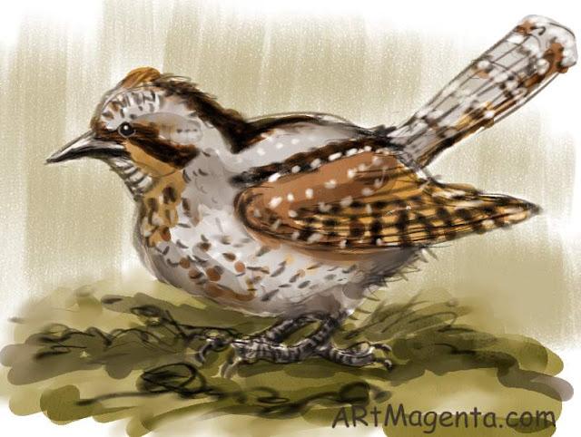 En  fågelmålning av en Göktyta från Artmagentas svenska galleri om fåglar.