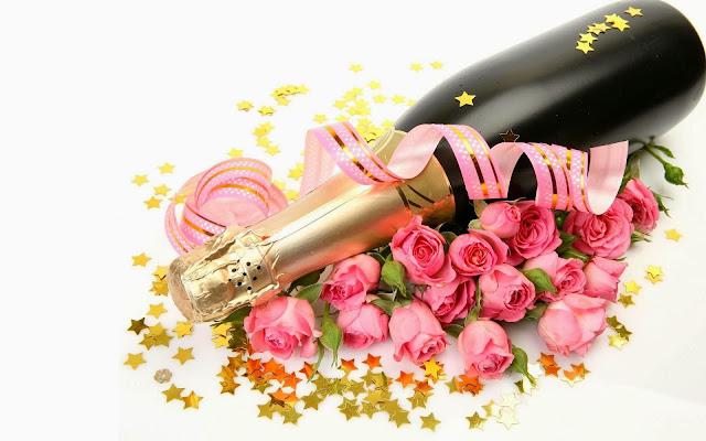 Rosas Rosadas Botella de Champagne para San Valentín