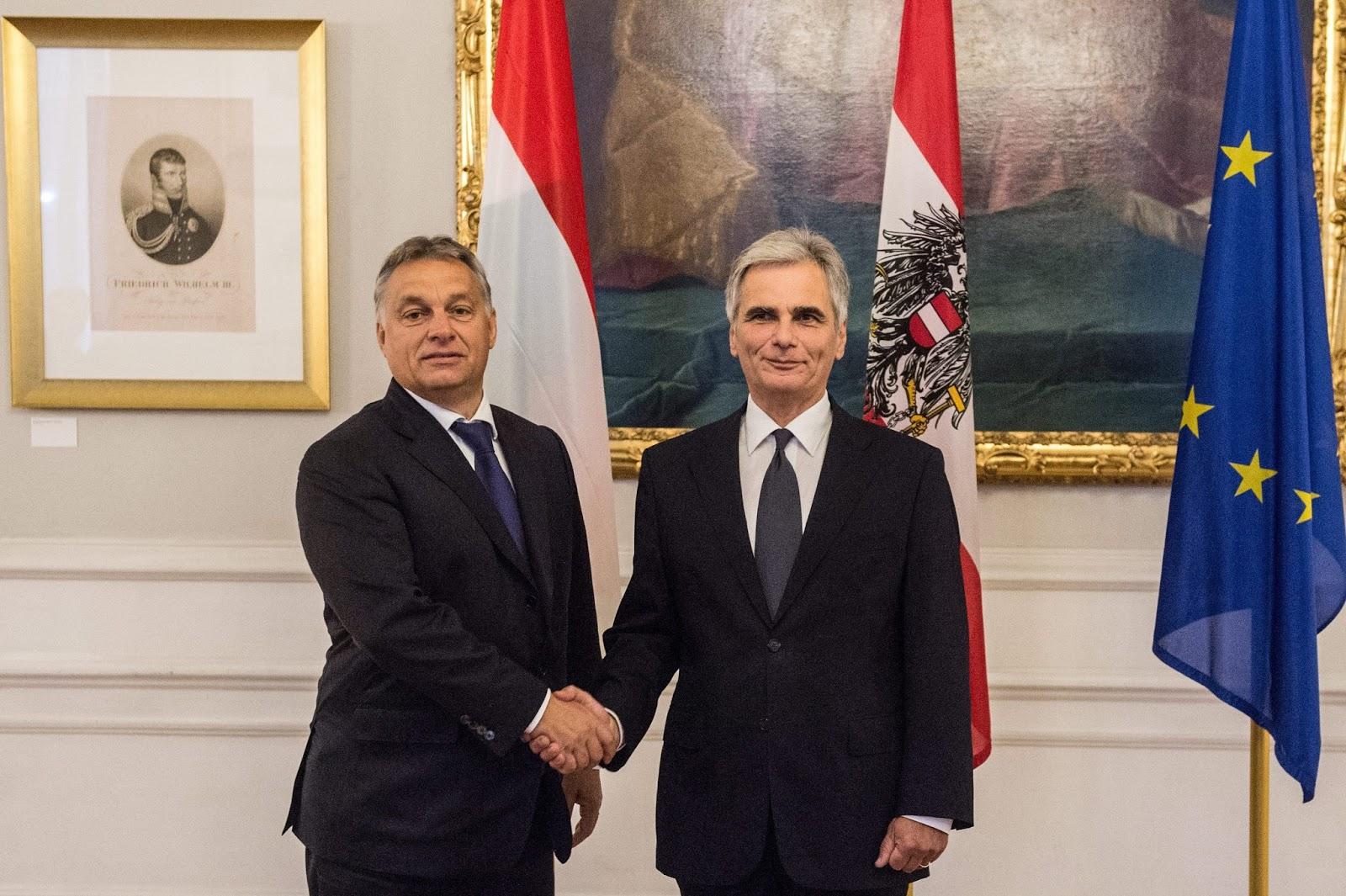 Orbán Viktor és Werner Faymann. Fotó: Botár Gergely/Miniszterelnöki Sajtóiroda/MTI