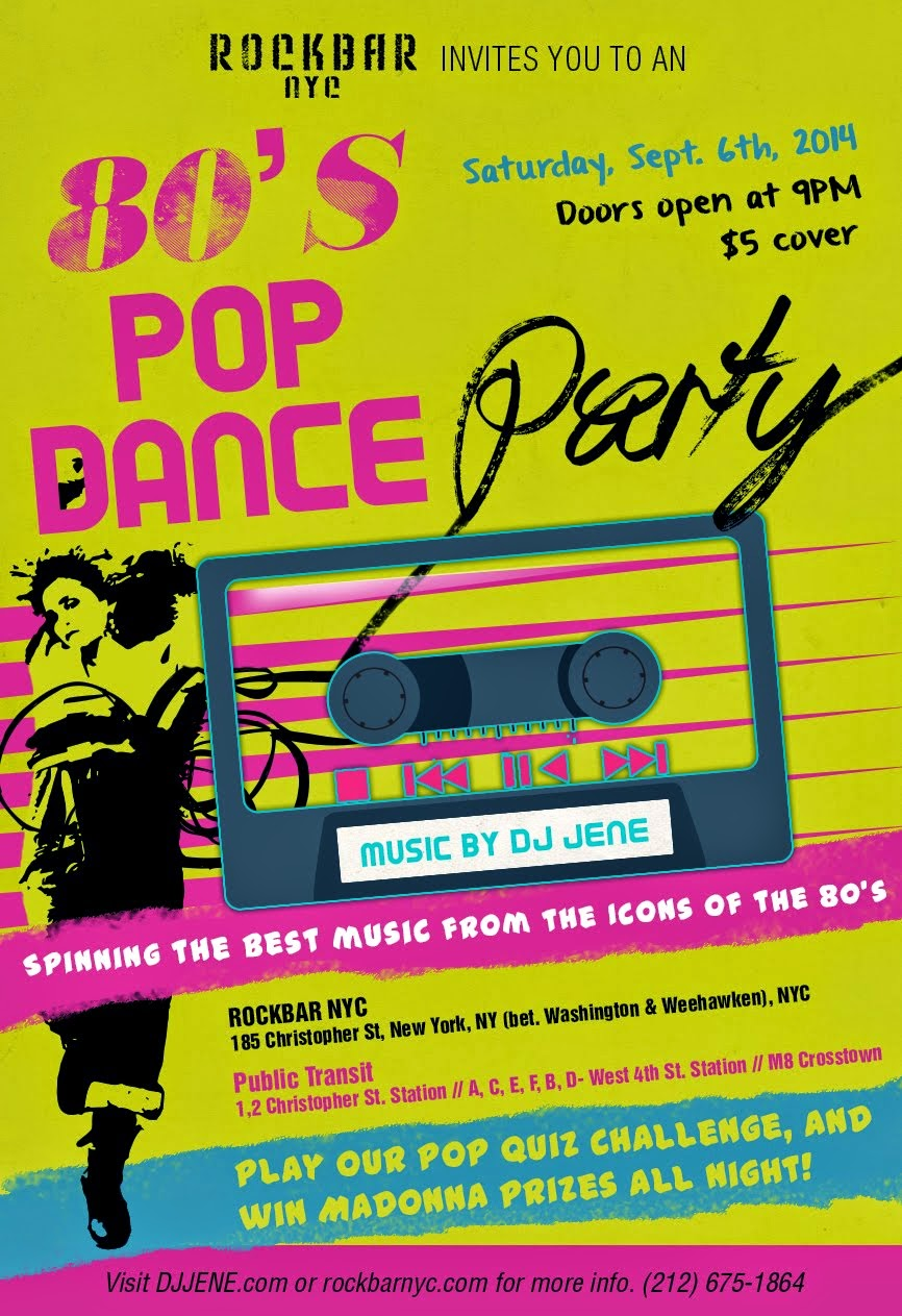 Satuday Sept 6th POP DANCE PARTY!