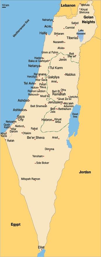 el mapa de israel