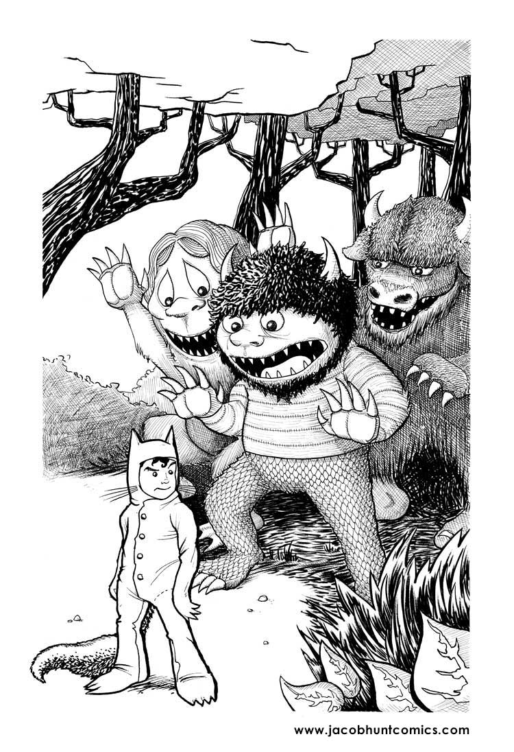 Max and the gang from Where the Wild Things Are ink illustration
