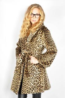 Vintage 1960's leopard print faux fur wrap coat