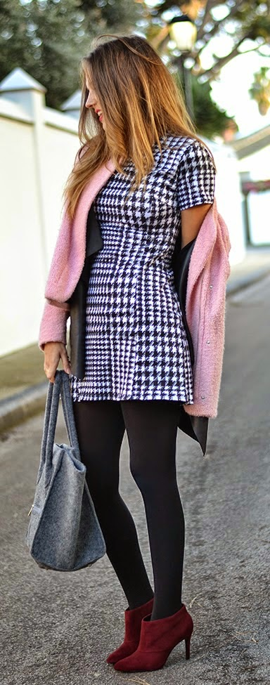 Pink Causal Jacket + Little Houndstooth Dress