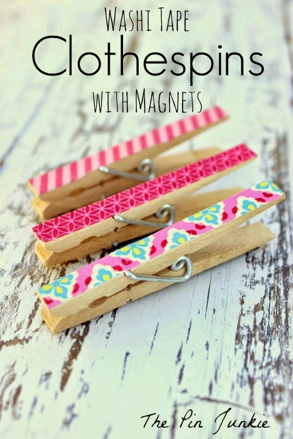 Washi Tape Clothespin Magnets, shared by The Pin Junkie