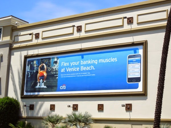 Flex banking muscles Venice beach Citi app billboard