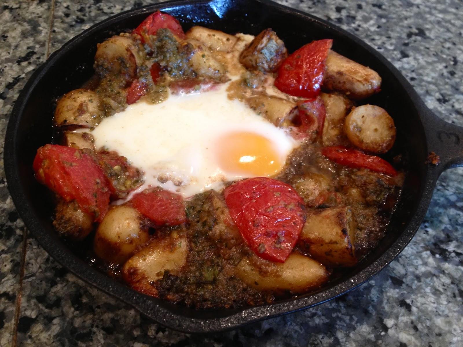 ... Cook: Skillet Potato, Tomato and Egg Bake with Cilantro Jalapeno Pesto