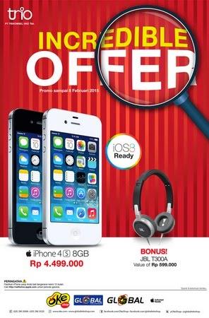 iPhone 4S Rp 4.499.000 Bonus Headphone JBL T300A Rp 599.000
