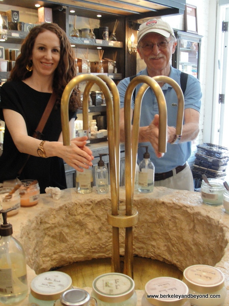 hand-washing ritual at Sabon shop in NYC