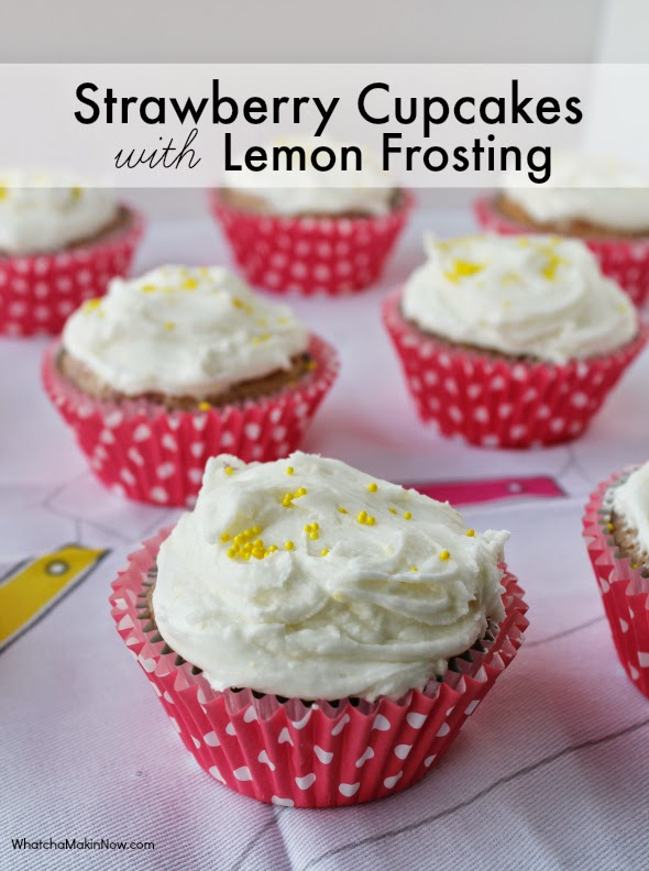Strawberry Cupcakes with Lemon Frosting