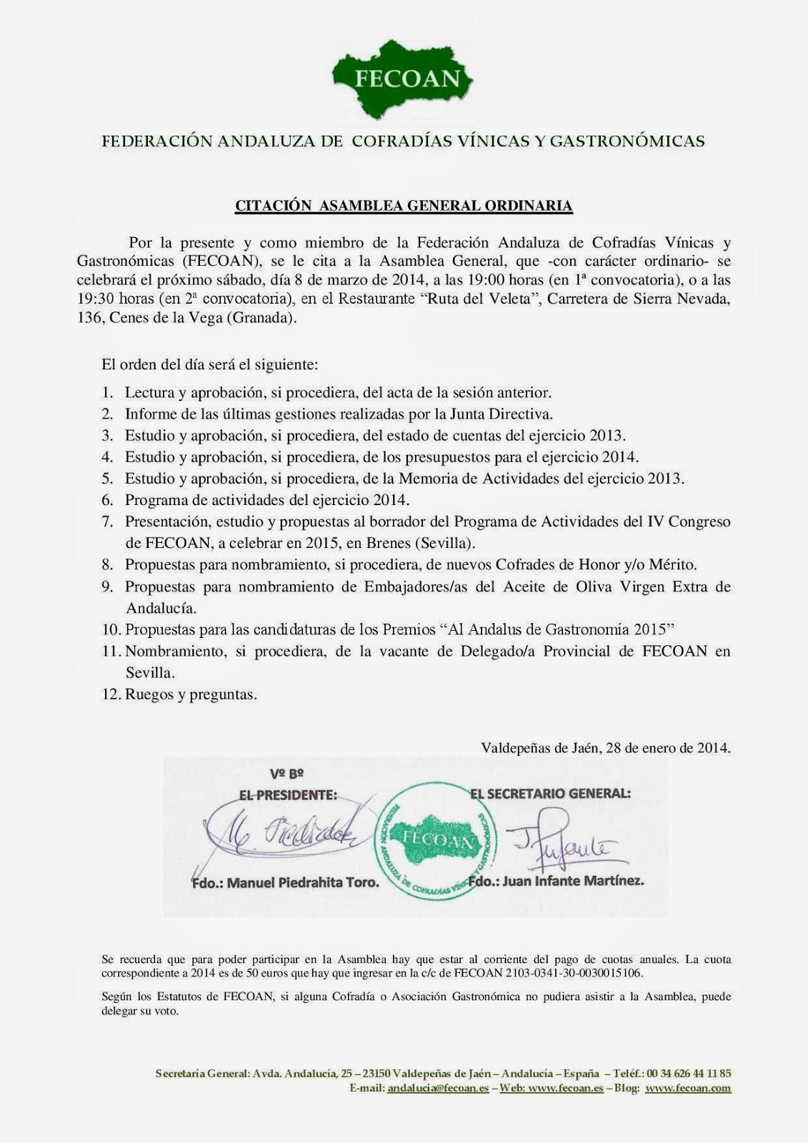 FEDERACIÓN ANDALUZA DE COFRADÍAS Y ASOCIACIONES GASTRONÓMICAS ...